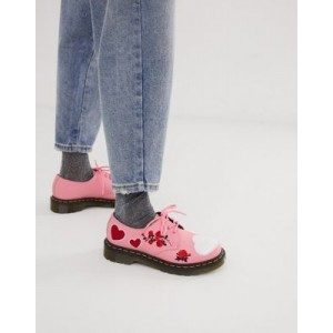 Dr Martens 1461 embroidered heart leather flat shoes in pink
