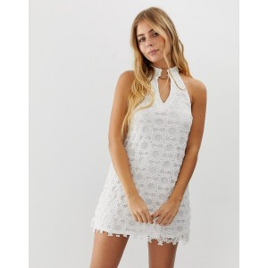 ebonie n ivory high neck lace dress with neck ring detail