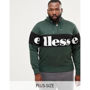 ellesse panel logo hoodie with 1/4 zip in green