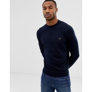 Farah Mullen cotton crew neck sweater in navy