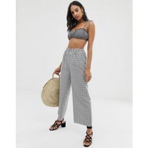 Fashion Union beach pants in mono check