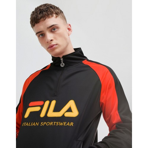 Fila 1/4 zip track poly tricot sweatshirt with large logo in black