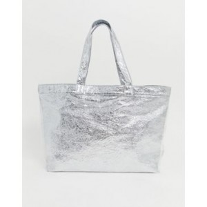 Glamorous silver and clear shopper bag