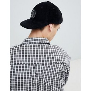 Globe cord cap with patch front detail in black