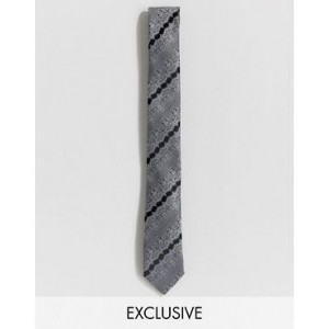 Heart & Dagger woven floral tie in gray