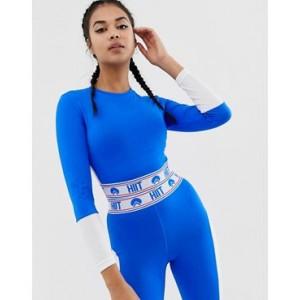 HIIT Mesh Detail Long Sleeve Crop Top In Blue