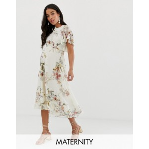 Hope & Ivy Maternity open back midi dress in cream floral
