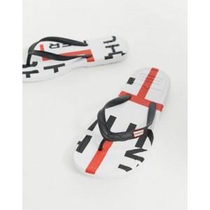 Hunter Original logo flip flops in white