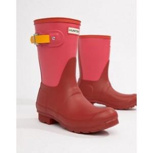 Hunter Red Color Block Original Short Wellington Boots