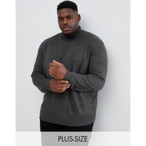 Jacamo roll neck knitted sweater in gray