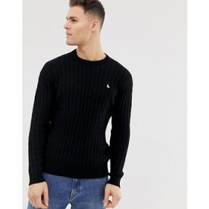 Jack Wills Marlow cable crewneck sweater in black