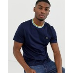 Lacoste tipped ringer t-shirt in navy
