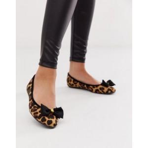 Lipsy bow ballerina in leopard print