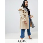 Lost Ink Plus Trench Coat With Gingham Collar
