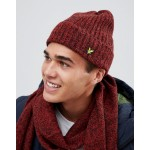 Lyle & Scott wool blend beanie in red marl