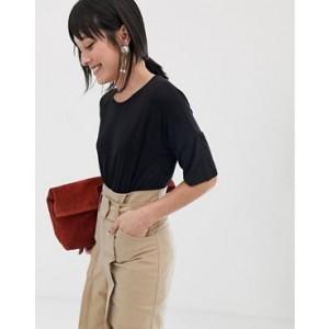 Mango 3/4 length oversized t shirt in Black