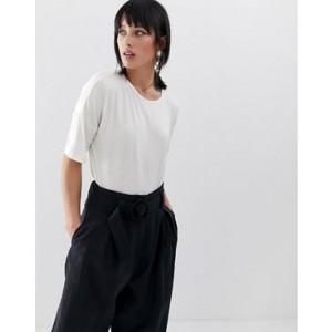 Mango 3/4 length oversized t shirt in White