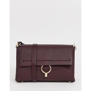 Mango across body bag with ring front in burgundy