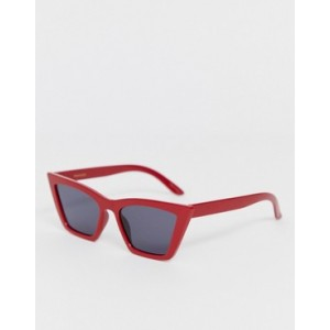 Mango angled cat eye sunglasses in red