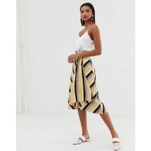 Mango asymmetric hem midi skirt in stripe print
