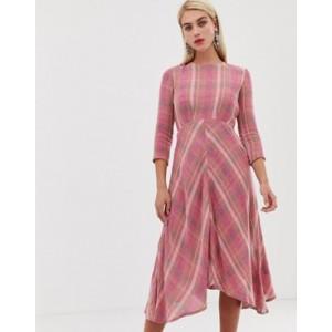 Mango check midi dress in pink
