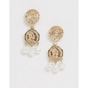 Mango coin and faux pearl drop earrings in gold