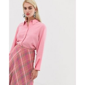 Mango concealed button shirt in Pink