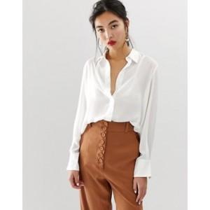Mango contrast stitch collar blouse in white