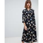 Mango dark floral base wrap midi dress in black