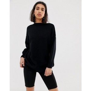 Mango double faced crew neck sweater in Black