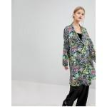 Mango Floral Print Long Line Drouser Jacket