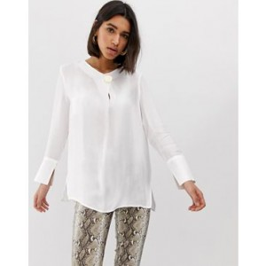 Mango gold disc detail blouse in White