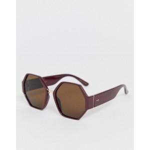 Mango hexagonal sunglasses in burgundy