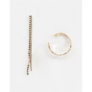 Mango hoop and chain earring in gold