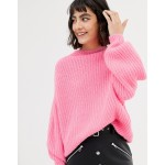 Mango knitted sweater in neon pink