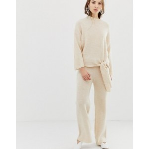 Mango knitted trousers co-ord in beige