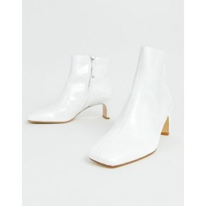 Mango leather ankle boot in White