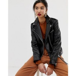 Mango leather biker jacket in Black
