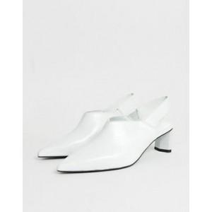 Mango leather sling back shoe on setback heel in white