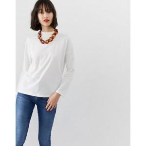 Mango long sleeved t-shirt in white