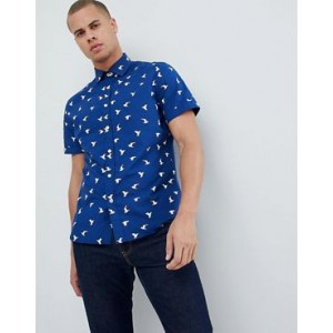 Mango Man Bird Print Short Sleeves Shirt In Navy
