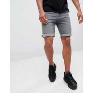 Mango Man Denim Shorts In Grey