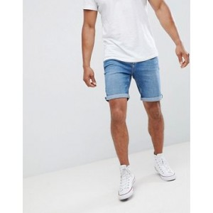 Mango Man Denim Shorts In Mid Blue