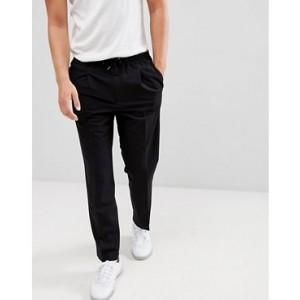 Mango Man Front Pleat pants In Black