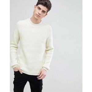 Mango Man Ribbed Wool-Blend Sweater In Ecru