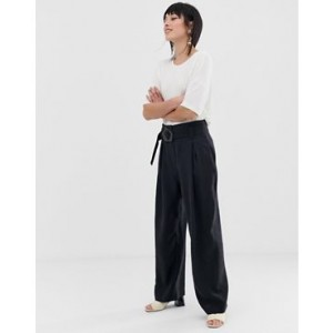 Mango paper bag pants in black
