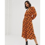 Mango polka dot dress in Orange