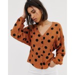 Mango polka dot printed blouse in Orange