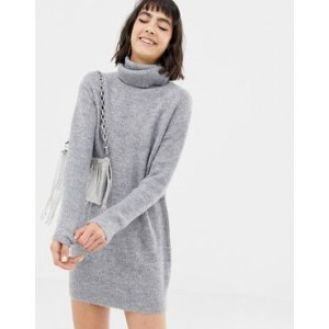 Mango roll neck sweater dress in gray