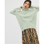 Mango roll neck sweater in green